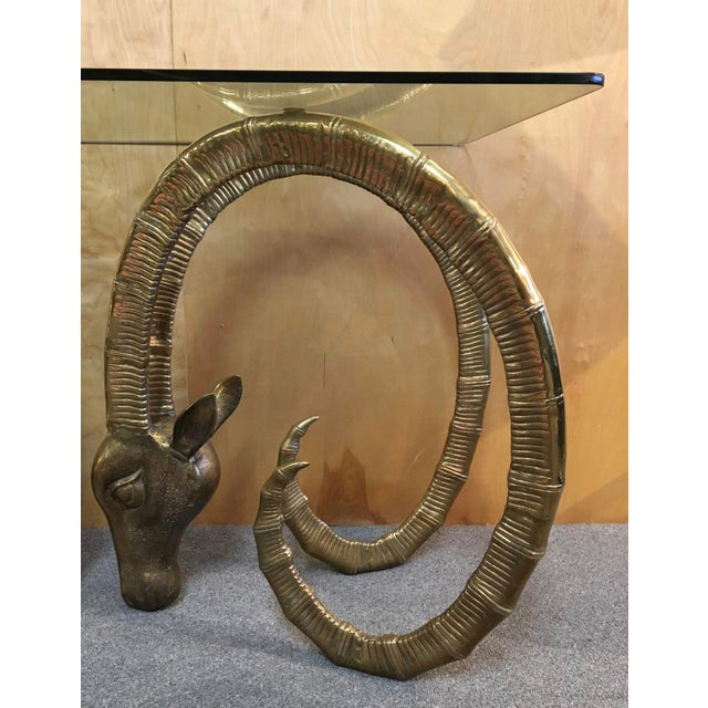 Alain Chervet 20th Century Hollywood Regency Ibex Rams Head Console Table For Sale - Image 4 of 9