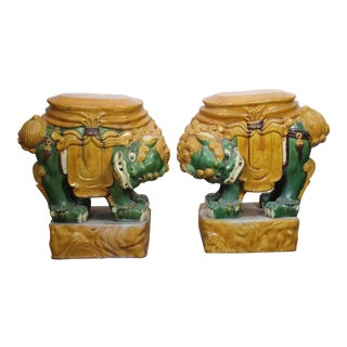 Asian Style Foo Dogs Garden Stools - a Pair For Sale