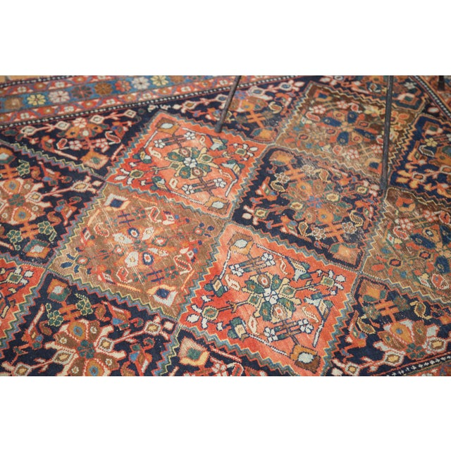 "Antique Distressed Afshar Square Rug - 4'4"" X 5'7"" - Image 4 of 9"