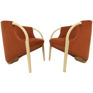 Pair of 1970s Sculptural Three Legged Lounge Chairs For Sale