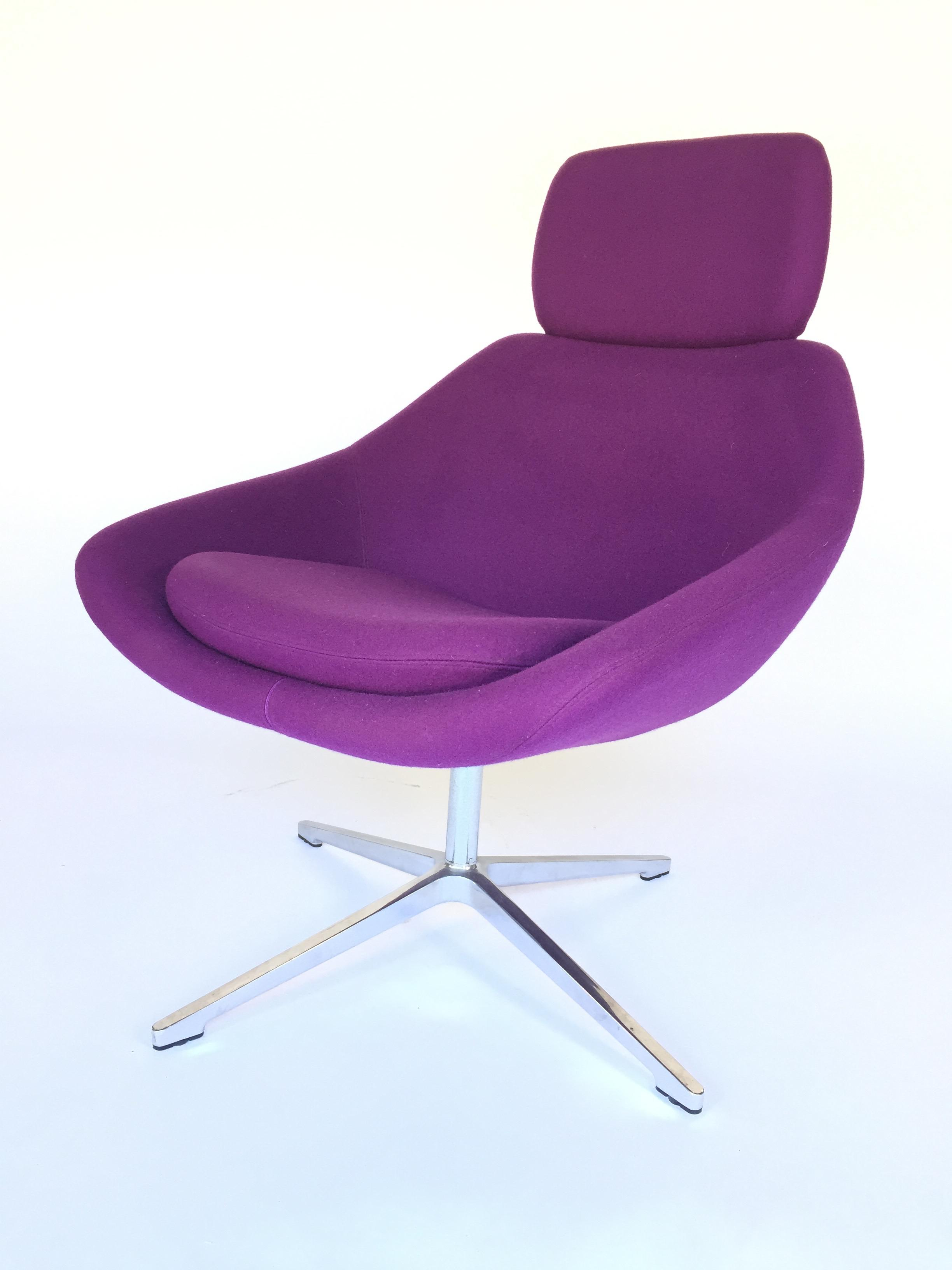 Bon Mid Century Modern Allermuir Purple Swivel Chair For Sale   Image 3 Of 6