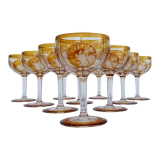 C.1950s Czechoslovakian Crystal Etched Amber Wine Goblets - Set of 10 For Sale