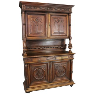 Buffet Antique French Gothic 1900 Walnut Wood For Sale