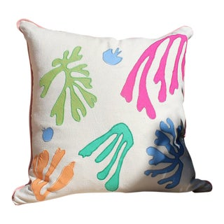 "Seaweed Applique Throw Pillow - 21"" x 21"""