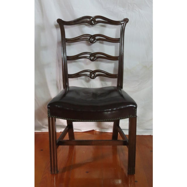 Red Chippendale Ribbon Back Dining Chairs - Set of 8 For Sale - Image 8 of 13