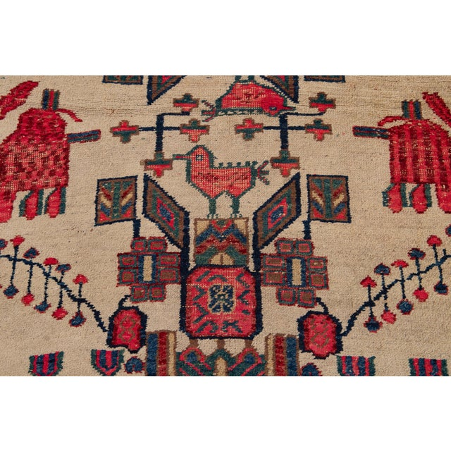 Ivory Mid-20th Century Vintage Persian Rug 4' 2'' X 6' 3''. For Sale - Image 8 of 12