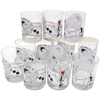 Mime Bar Glasses Barware W/Pierrot Clown - Set/12 For Sale