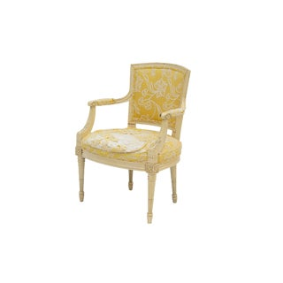 French Style Armchair by Henredon With Crewelwork Back For Sale