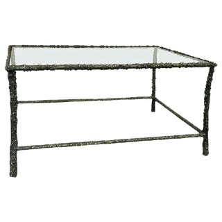 Brutalist Faux Bois Forged Iron Coffee Table For Sale