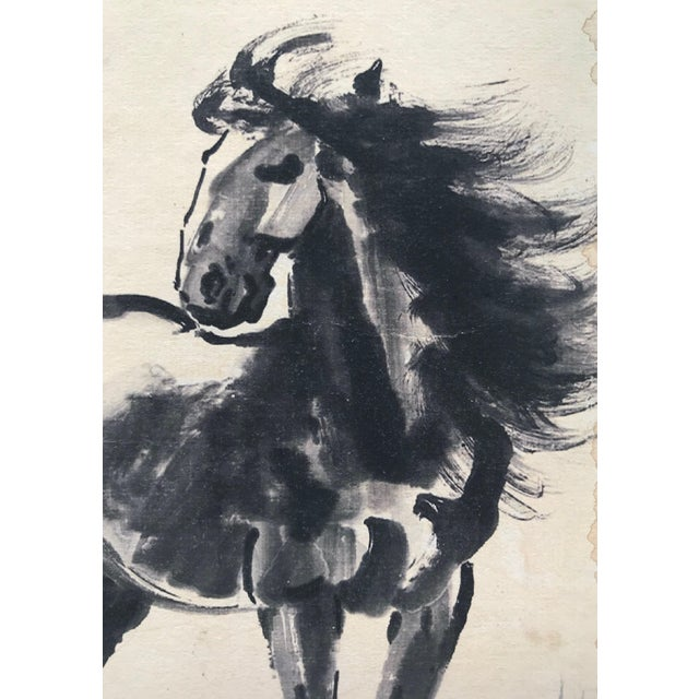 Asian Vintage Chinese Watercolor of Horse Manner of Xu Beihong For Sale - Image 3 of 5