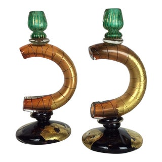 Murano Glass Candlesticks Holders - a Pair For Sale