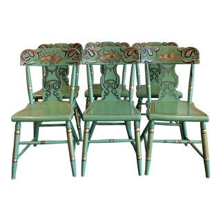19th Century Vintage Tole Painted Dining Chairs - Set of 6 For Sale