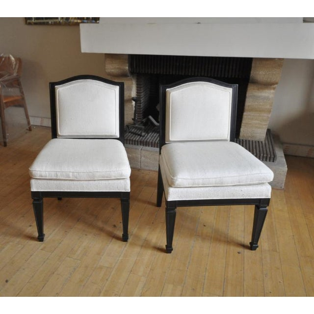 Silk Style of J.M.Frank Neoclassic Pair of Slipper Chairs Covered in Silk For Sale - Image 7 of 8
