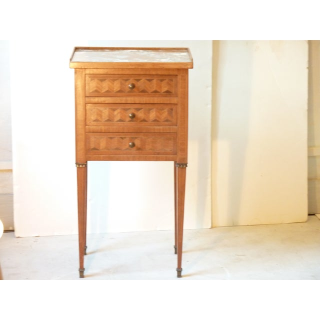 Marquetry Inlaid Night Table For Sale - Image 9 of 9