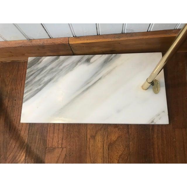 Vintage Mid Century Modern Italian White Marble Base Arc Lamp Medium Size For Sale - Image 11 of 13