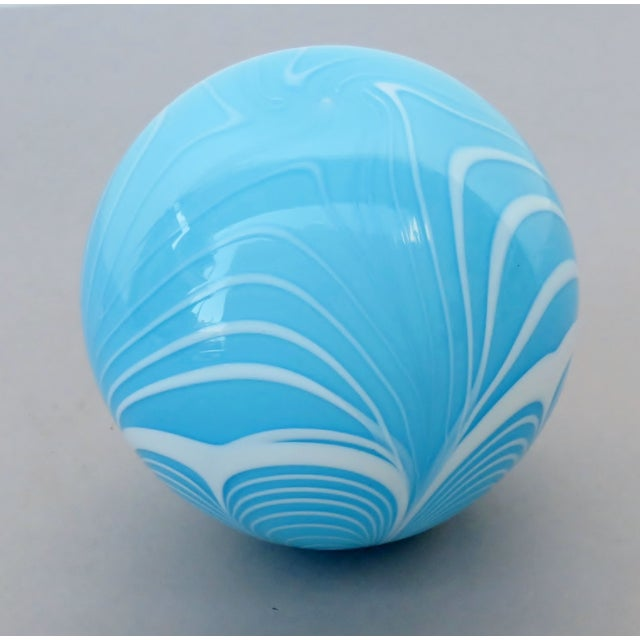 American Tiffany Blue Blown Glass Witch Ball For Sale - Image 3 of 6