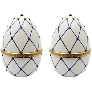 "Sigma L2 Italian Ceramic Rete Blue and Gilt Bronze ""Egg Form"" Covered Boxes For Sale"