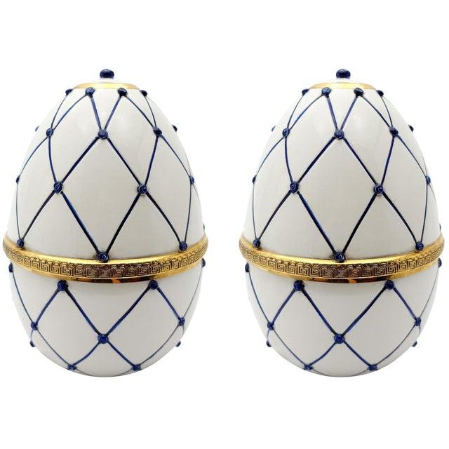 "Sigma L2 Italian Ceramic Rete Blue and Gilt Bronze ""Egg Form"" Covered Boxes For Sale"