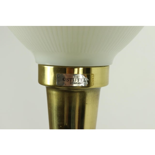 1960s Mid Century Modern Brass Wood Glass Stiffel Regency Table Lamp Light For Sale In Detroit - Image 6 of 12