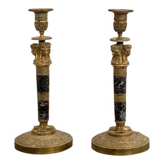 Ormolu and Jasper Candlesticks, France Circa 1810 - a Pair For Sale