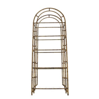 Faux Bamboo Arch Shape Glass Shelves Etagere For Sale