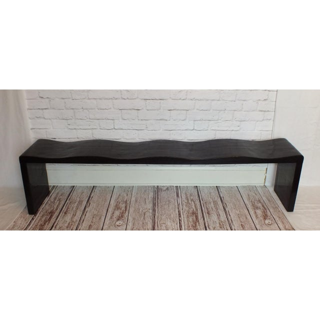 Vintage Wave Bench in Black Lacquer - Image 3 of 11