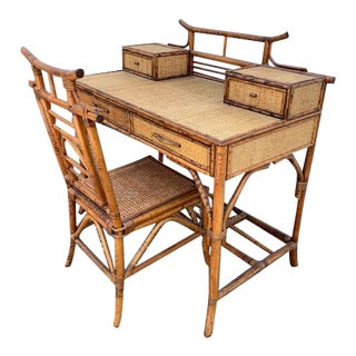 Vintage Chinoiserie Burnt Bamboo Desk and Chair - 2 Pieces For Sale
