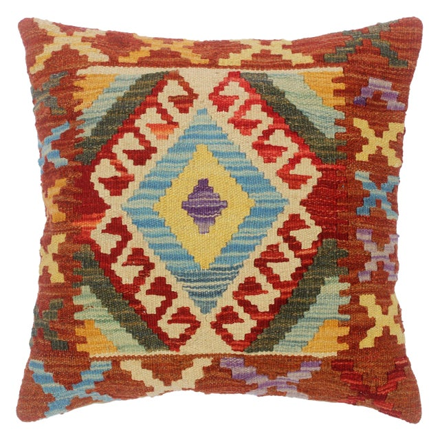 "Chet Red/Lt. Blue Hand-Woven Kilim Throw Pillow(18""x18"") For Sale"