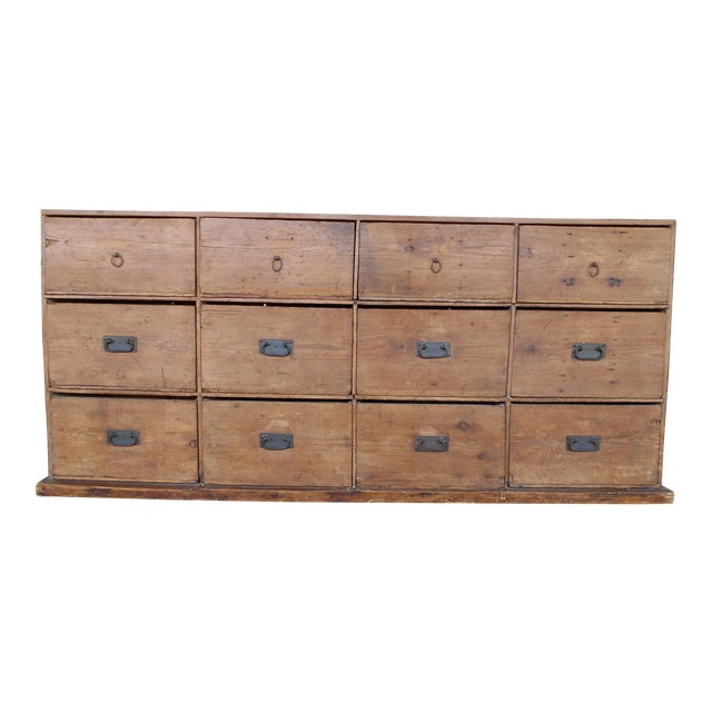 12 Drawer Pine Apothecary Cabinet For Sale
