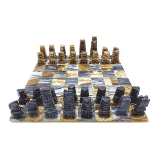 Vintage Hand Crafted Marble Full Chess Set For Sale