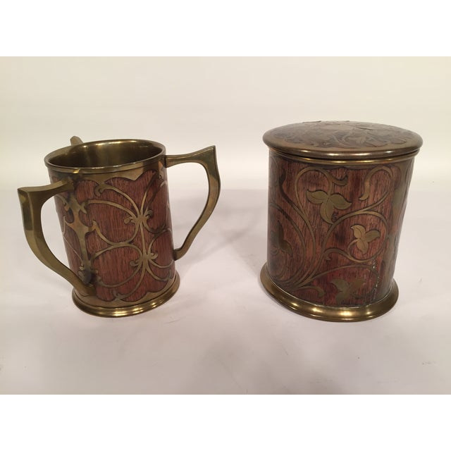 Art Nouveau Rosewood & Brass Humidor & Cup For Sale - Image 4 of 7
