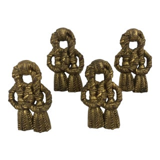 Hollywood Regency Gold Guilt Italian Curtain Tie Backs - Set of 4 For Sale