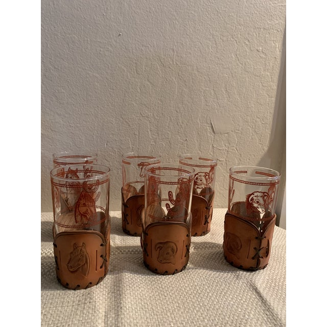 1950s Mid-Century Western Theme Leather Accent Glasses and Shaker - 11 Piece Set For Sale - Image 5 of 9