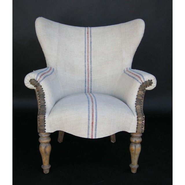 Custom Lambskin and Vintage Linen Chairs - Image 6 of 8