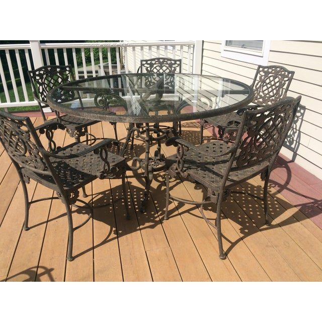 Cast Classics Outdoor Table & Arm Chairs - Set of 6 - Image 9 of 11