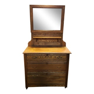 Late 19th Century Oak Hotel Dresser With Adjustable Peerless Mirror, Made in New Hampshire For Sale