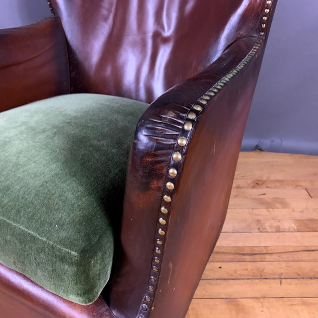 Green Early 1940s Danish Cognac Leather Club Chair, New Mohair For Sale - Image 8 of 10