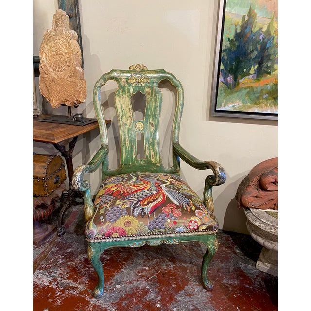 """19th century gilt arm chair with new upholstery. 28"""" Wide x 23"""" Deep x 45"""" High - Seat 18"""" High."""