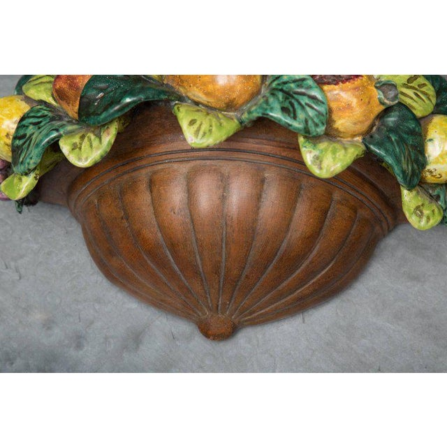 1950s Pair of Italian Terracotta Wall Pockets with Glazed Fruit Decoration For Sale - Image 5 of 7