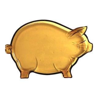 1960s Vintage Amber Glass Pig Serving Platter For Sale