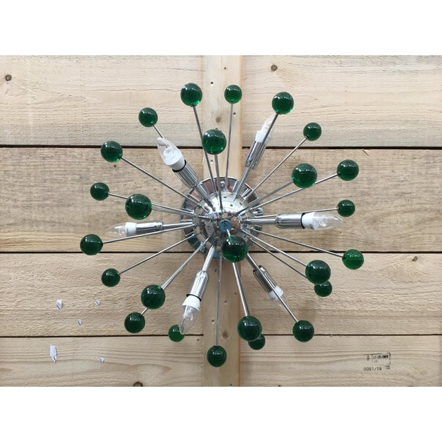 Glass Flush Mount Wall Sconce Murano Glass Sputnik Green Metal Frame in Color Kromo For Sale - Image 7 of 7