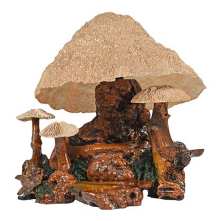 1960's Cypress Wood Coral Mushroom Lamp