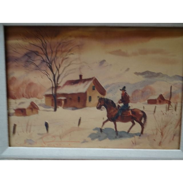 Cabin Charles Payzant Double-Sided Western Watercolor For Sale - Image 3 of 8