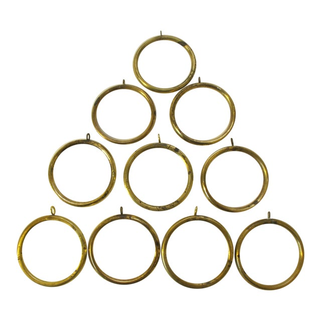 Antique Brass Curtain Rings - Set of 10 For Sale