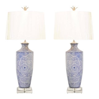 Dramatic Graphic Pair of Large-Scale Ceramic Lamps in Navy and White For Sale