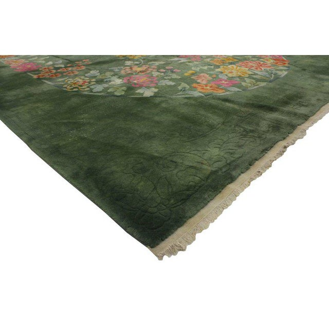 Inject a little deco color into your home with this early 20th century green Chinese Art Deco rug, attributed to Walter...