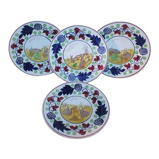19th Century Stick Spatter Rabbit Plates / Set of Four For Sale