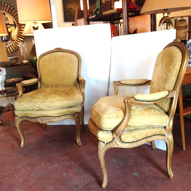 20th Century French Crushed Velvet Gilt-Framed Chairs - a Pair For Sale - Image 12 of 12
