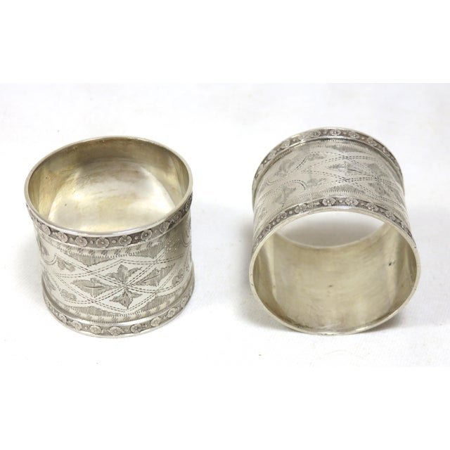 1870s Antique Sterling Silver Napkin Rings - a Pair For Sale - Image 10 of 13