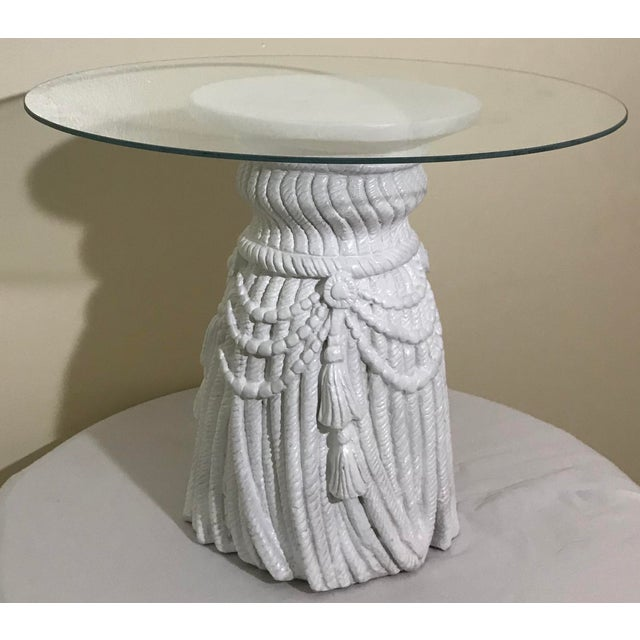 Hollywood Regency Tassel Fringe Rope Side Tables In The Manner of Dickinson – a Pair Attributed to John Dickinson, these...